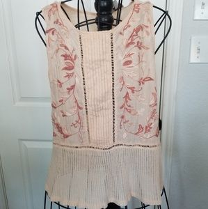 Lucky Brand pink tank embroidery sz. Large
